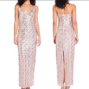 Adrianna Papell rose gold sequin dress